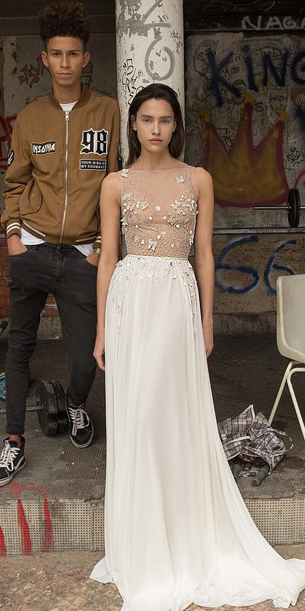 liz martinez wedding dresses illusion top floral appliques sexy