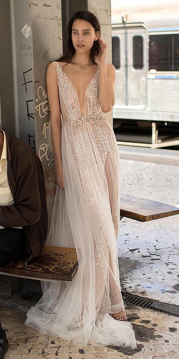 liz martinez wedding dresses sheath deep v neckline lace embellishment sexy 2018