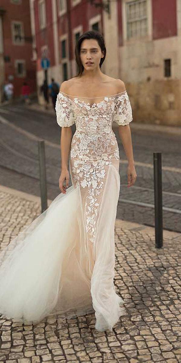 liz martinez wedding dresses sheath off the shoulder floral appliques lace blush 2018