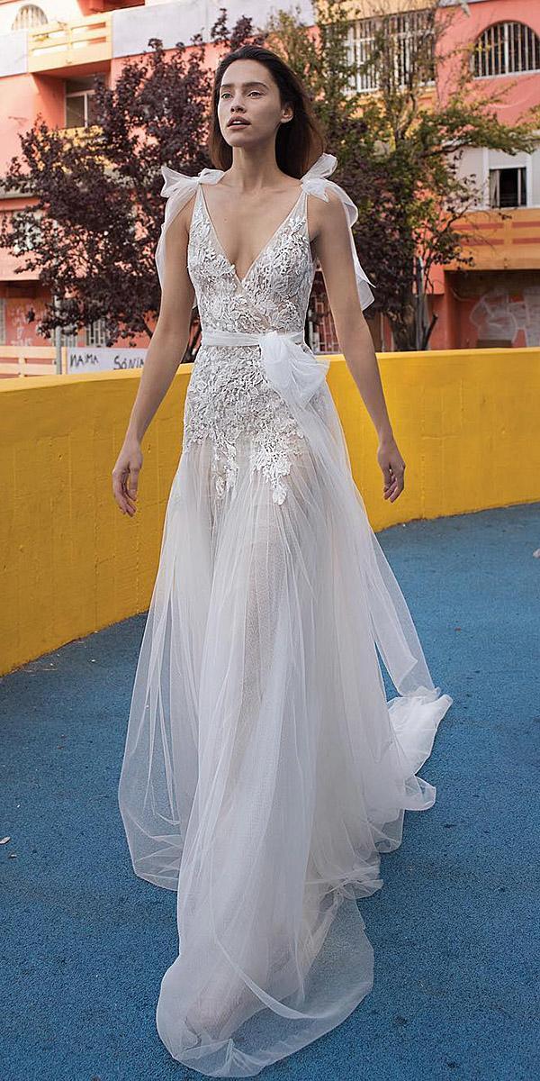 liz martinez wedding dresses sheath v neckline lace embellishment 2018