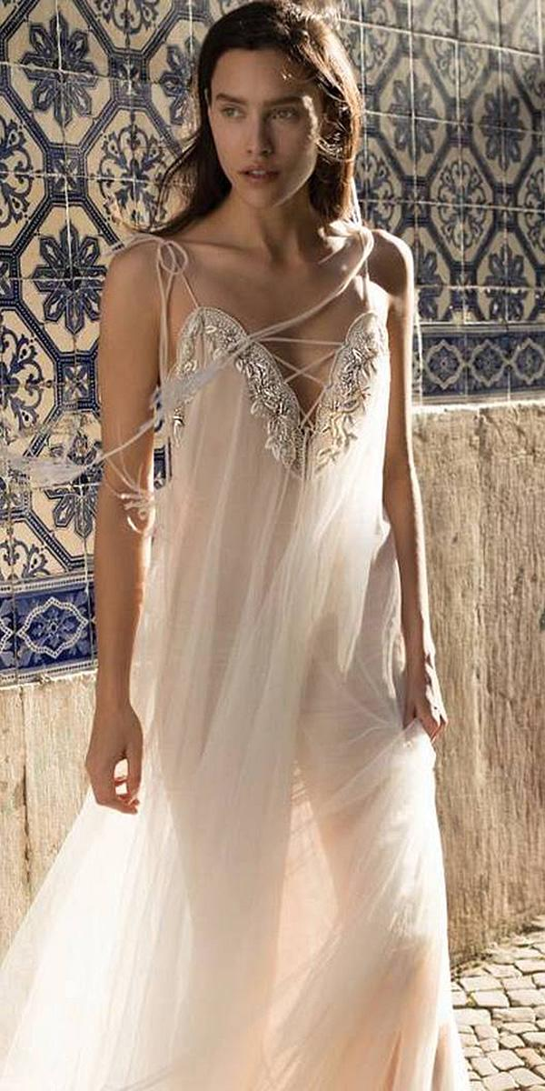 liz martinez wedding dresses sheath v neckline with straps beach boho 2018