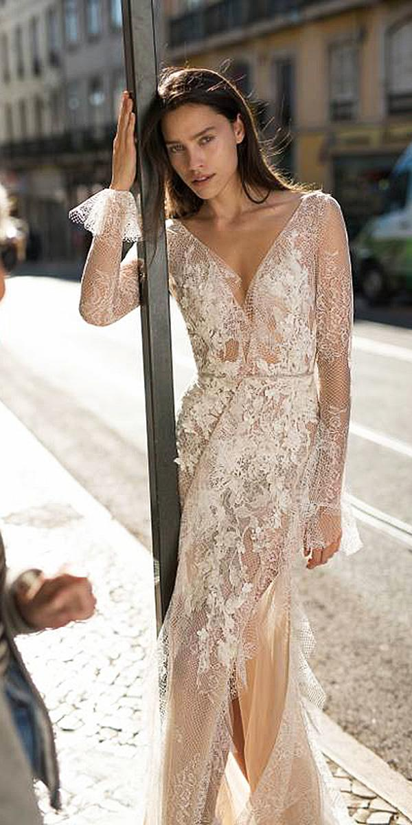 liz martinez wedding dresses with long sleeves delicate lace 2018 beach