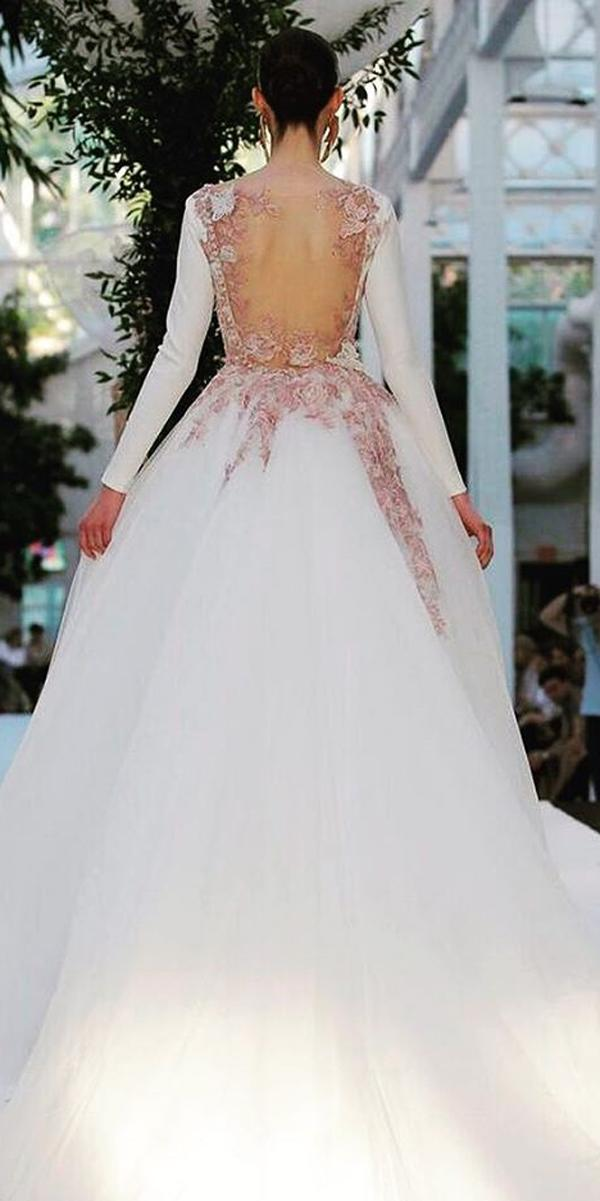 long sleeve wedding dresses ball gown trendy low back embroidered with floral backless rubenhernandezcostura