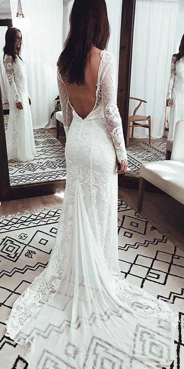 long sleeve wedding dresses boho sheath fit and flare low back lace grace loves lace