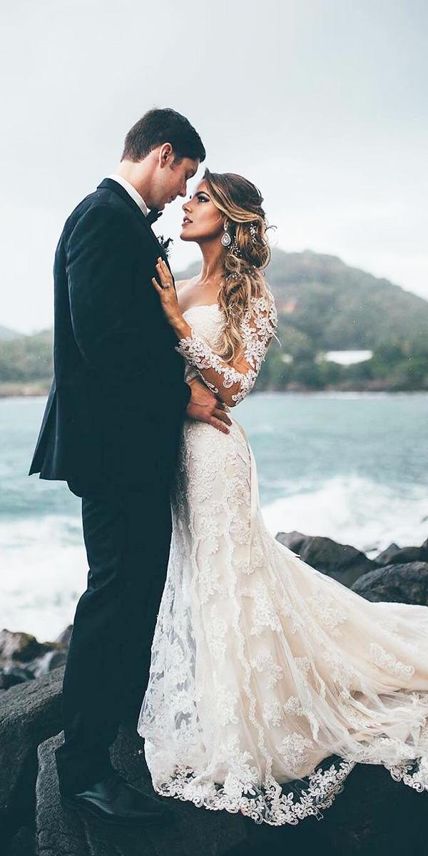 long sleeve wedding dresses lace beach miss stella york