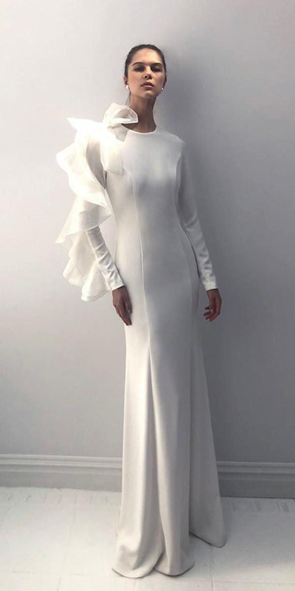 long sleeve wedding dresses modest scoop neckline simple trendy sheath alon livne white