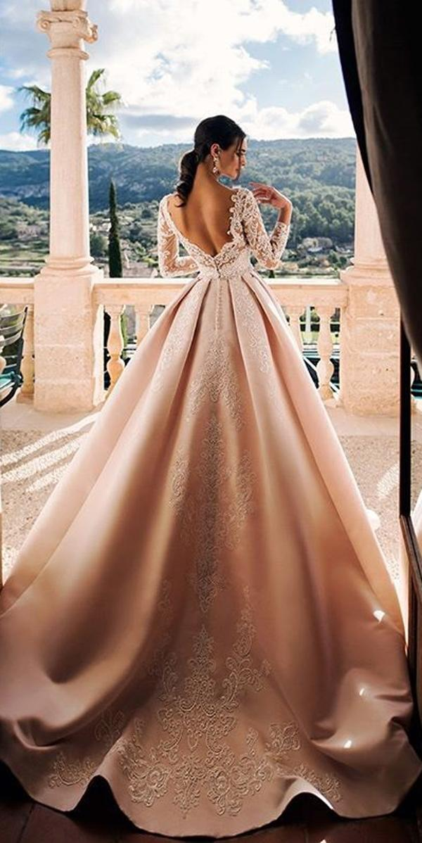 long sleeve wedding dresses peach blush lace ball gown open back princess noranaviano sposa