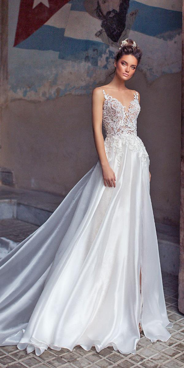 lorenzo rossi weddding dresses 2018 a line with spaghetti straps lace top for beach