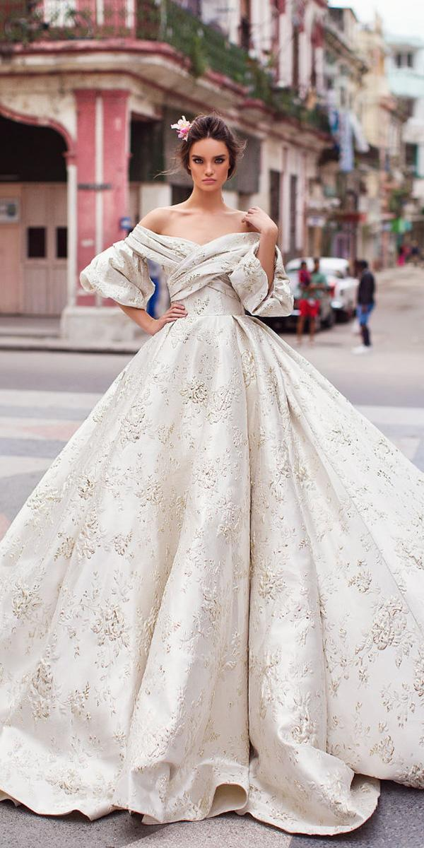 lorenzo rossi weddding dresses 2018 ball gown off the shoulder sweetheart criss cross bodice