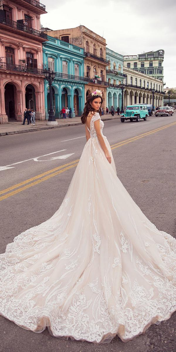 lorenzo rossi wedding dresses 2018 ball gown off the shoulder with floral lace train