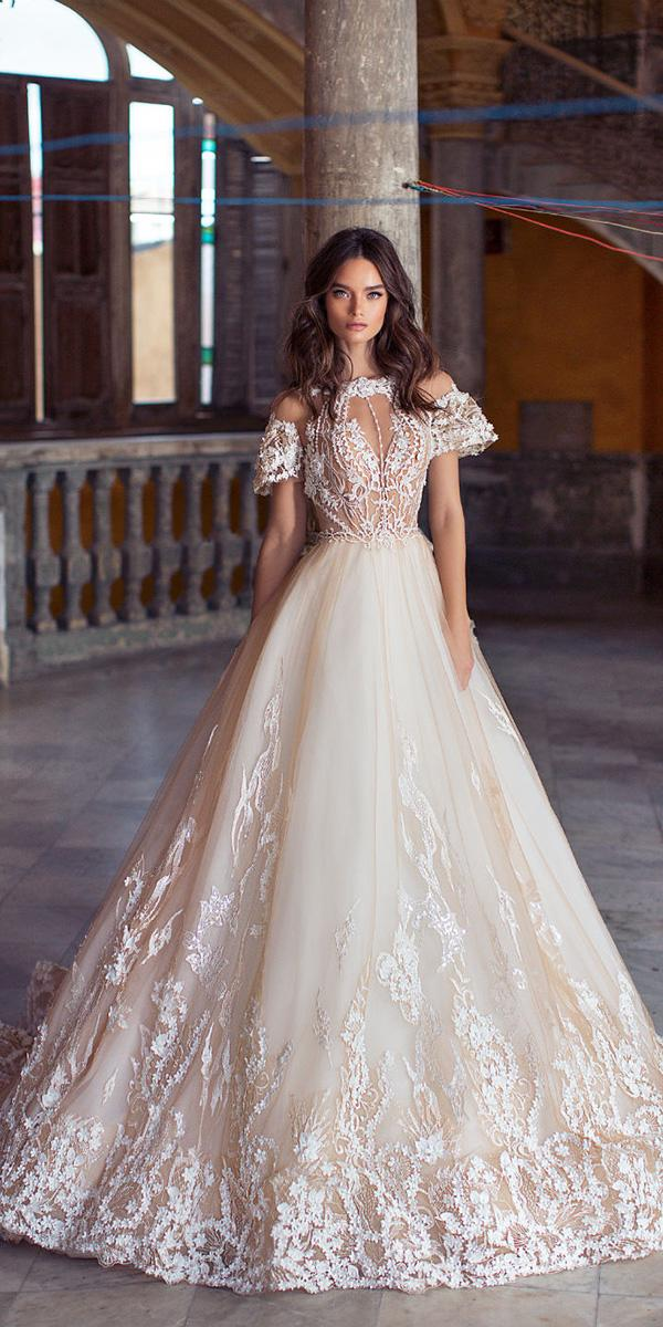 lorenzo rossi weddding dresses 2018 ball gown with cap sleeves floral aplliques tulle skirt blush
