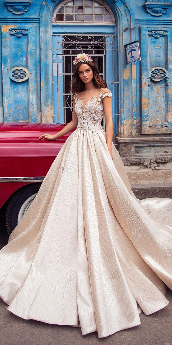 lorenzo rossi weddding dresses 2018 ball gown with cap sleeves illusion neckline with floral lace blush