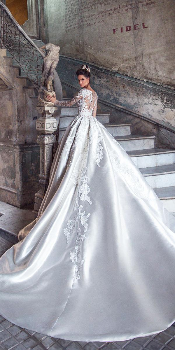 lorenzo rossi weddding dresses 2018 ball gown with long illusion slleeves silver
