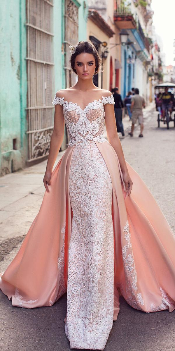 lorenzo rossi weddding dresses 2018 fit and flare lace with overskirt blush
