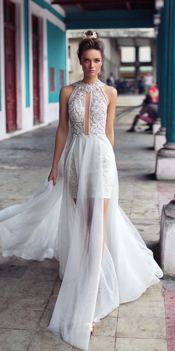 lorenzo rossi weddding dresses 2018 halter neckline beaded lace tulle skirt for beach