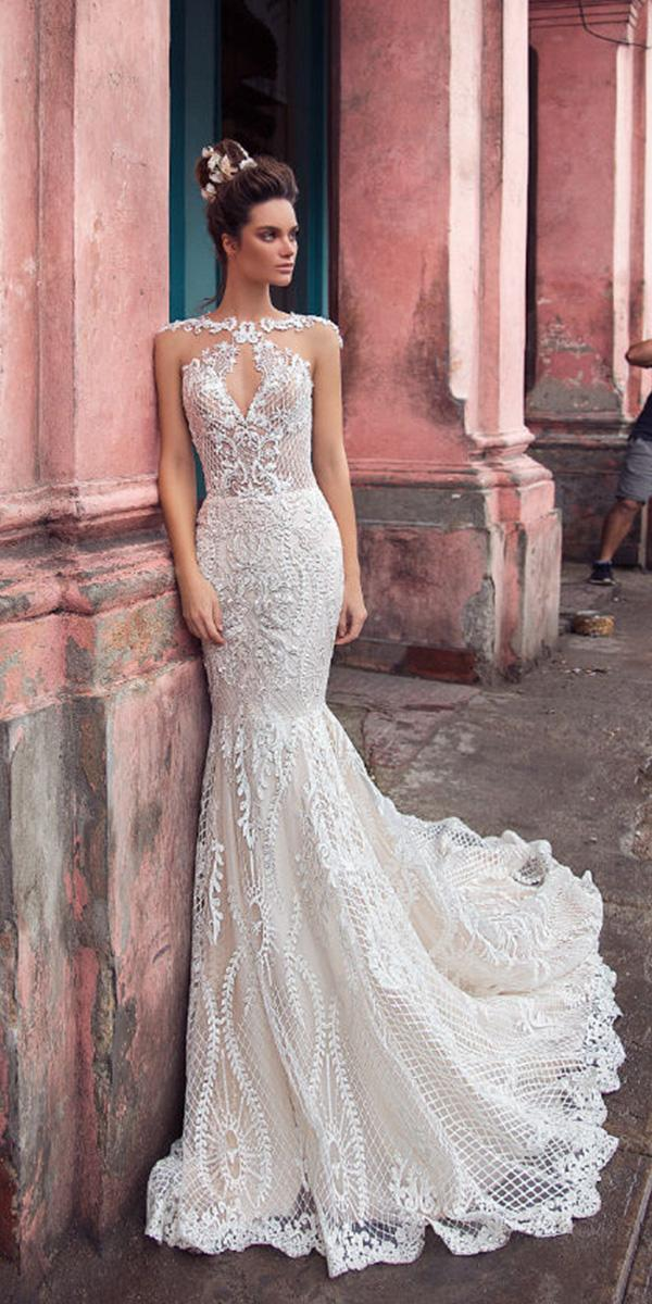 lorenzo rossi weddding dresses 2018 mermaid lace beaded sexy