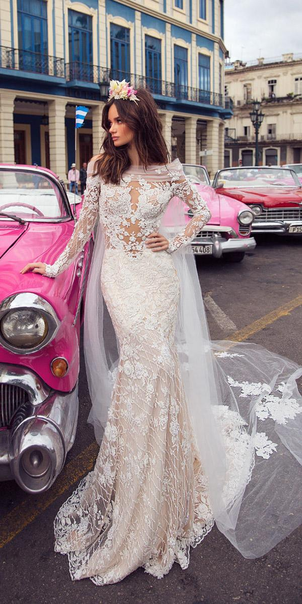 lorenzo rossi weddding dresses 2018 mermaid with long sleeves floral appliques lace