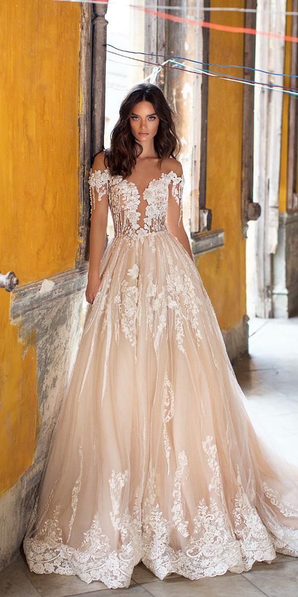 lorenzo rossi weddding dresses 2018 off the shoulder floral appliques blush