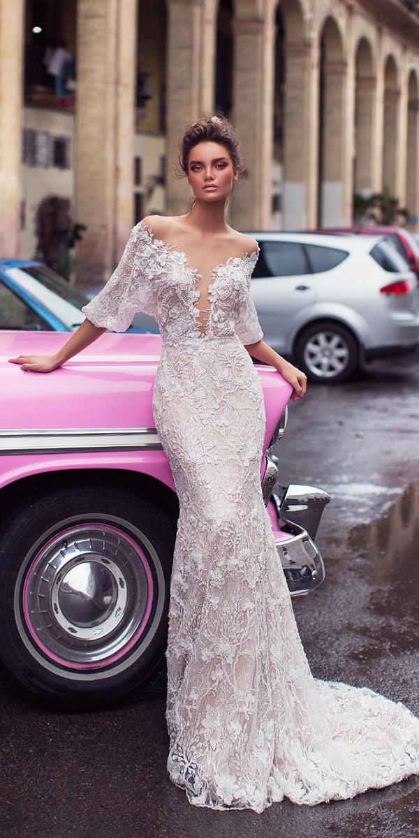 lorenzo rossi weddding dresses 2018 sheath deep v neckline lace floral sexy