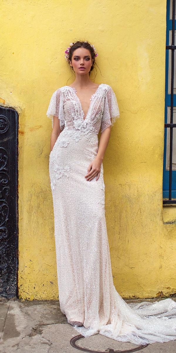 lorenzo rossi weddding dresses 2018 sheath deep v neckline with floral appliques train