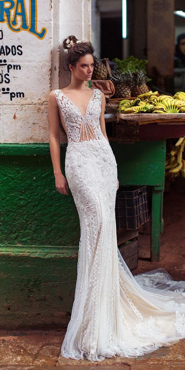 lorenzo rossi weddding dresses 2018 sheath floral appliques beaded bodice sexy
