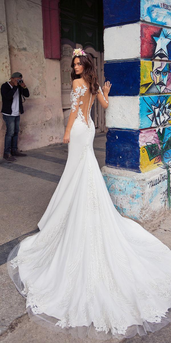 lorenzo rossi weddding dresses 2018 with illusion sleeves tattoo effect back tulle train sexy