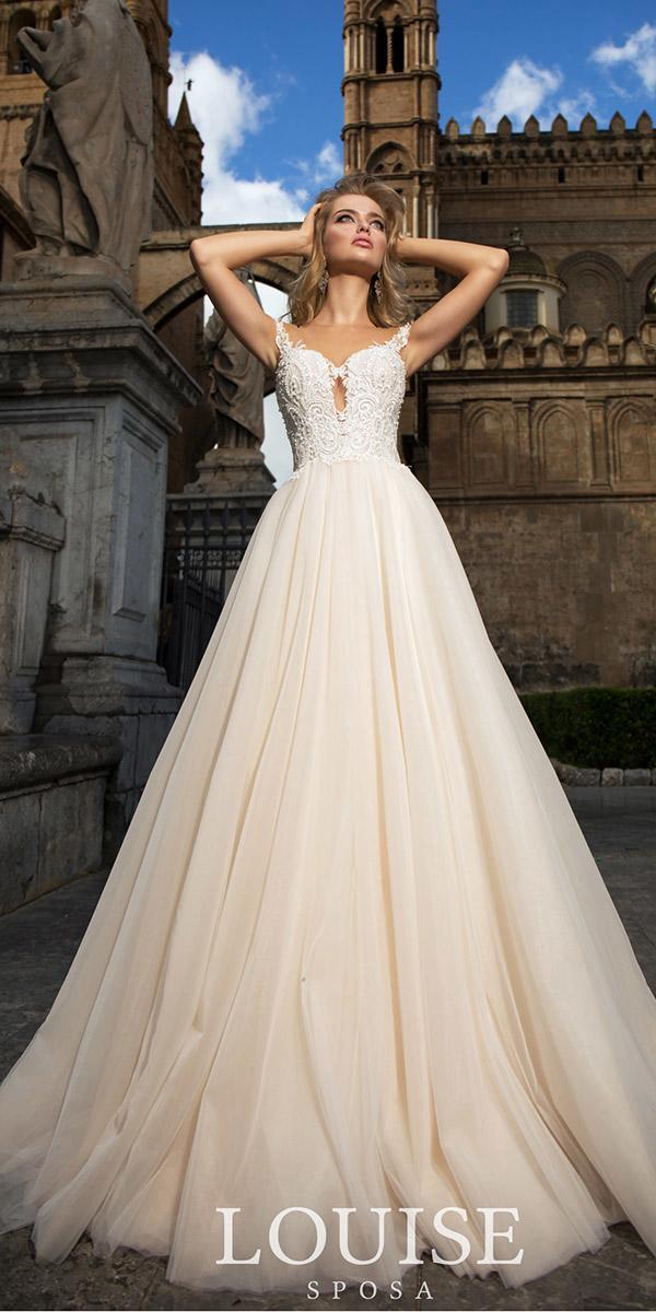 louise sposa wedding dresses a line illusion neckline beaded top blush 2018