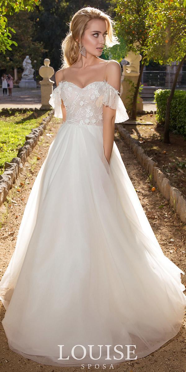 louise sposa wedding dresses a line off the shoulder romantic 2018