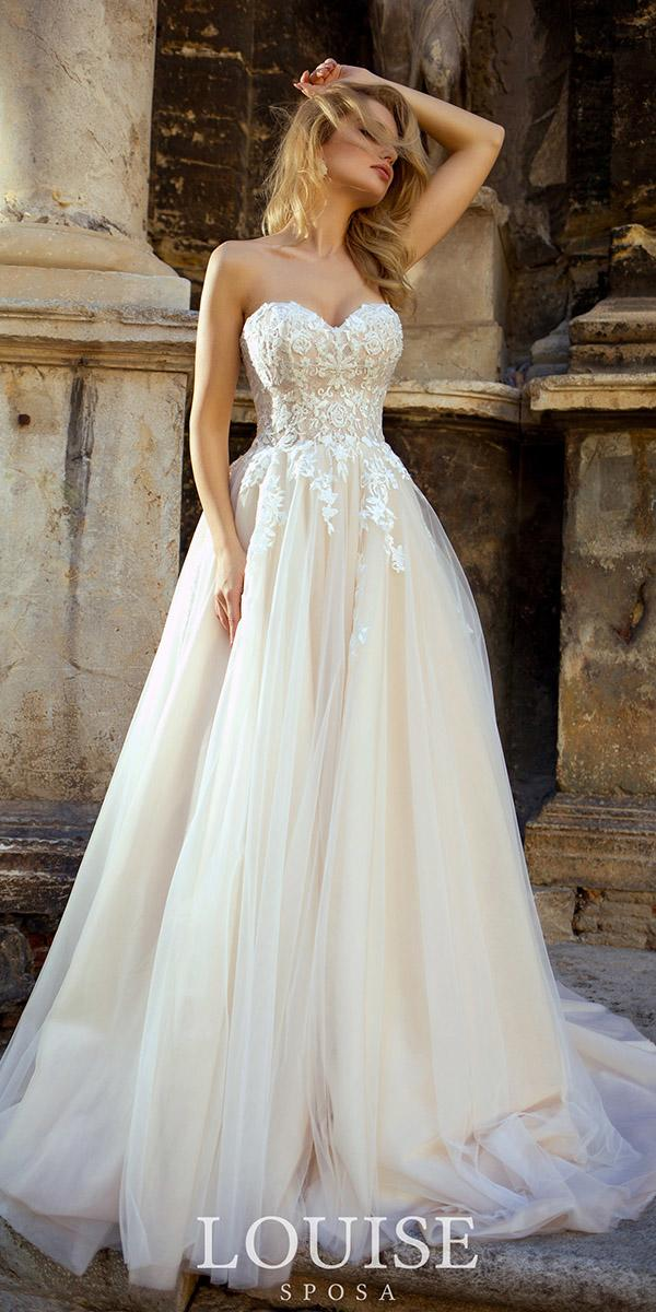 louise sposa wedding dresses a line strapless lace floral 2018 romantic
