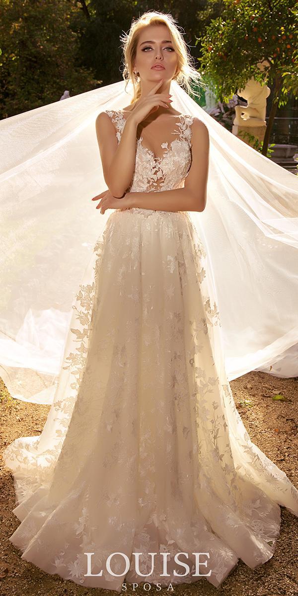 louise sposa wedding dresses a line sweetheart illusion neckline lace romantic 2018