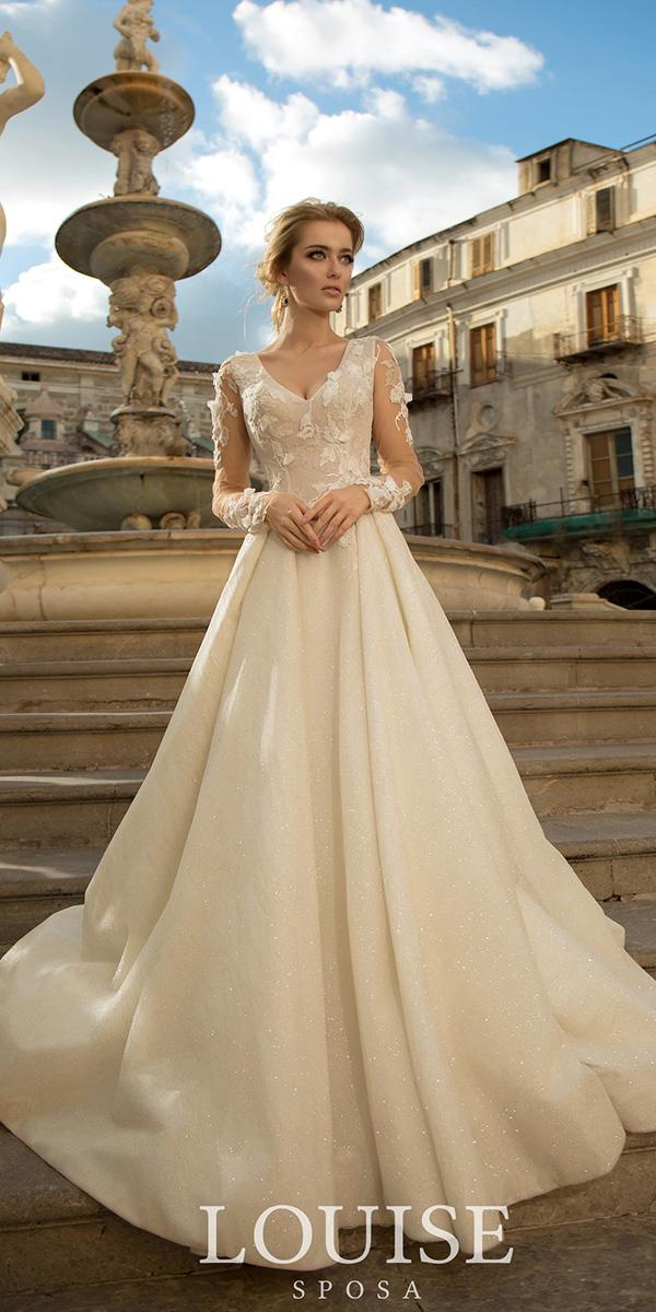 louise sposa wedding dresses a line v neckline with long sleeves blush 2018