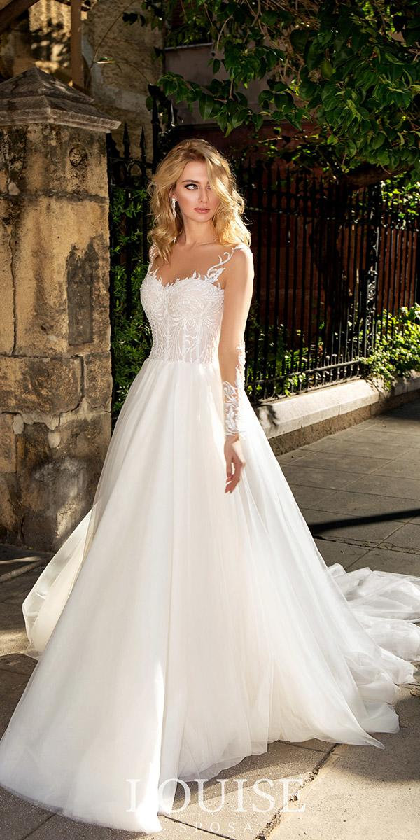 louise sposa wedding dresses a line with long sleeves sweetheart 2018