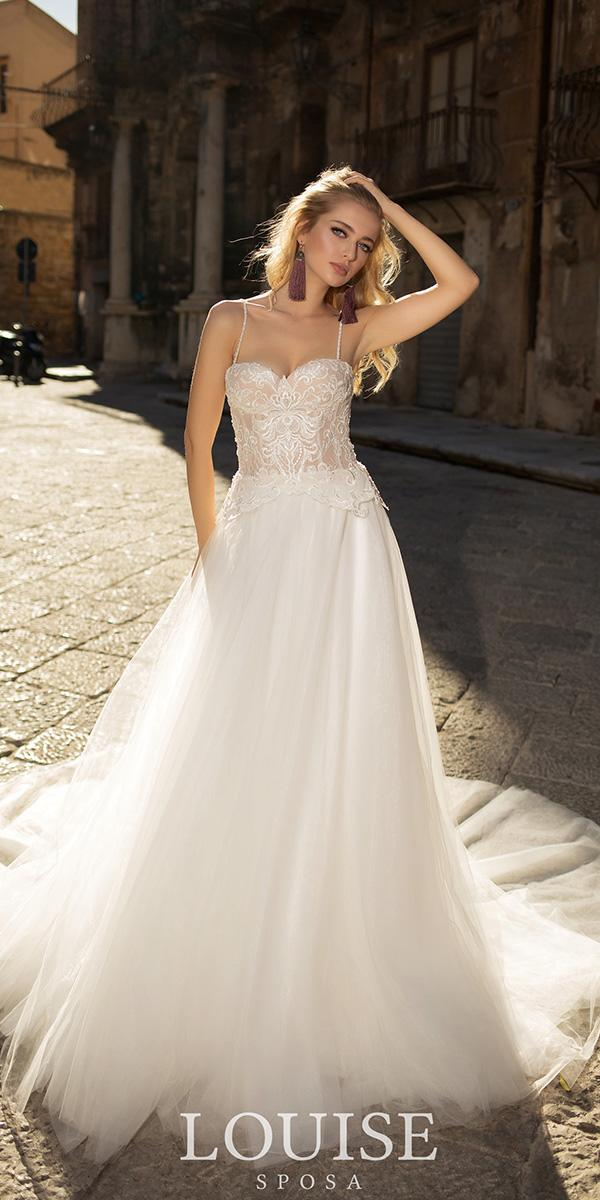 louise sposa wedding dresses a line with spaghetti straps lace top for beach