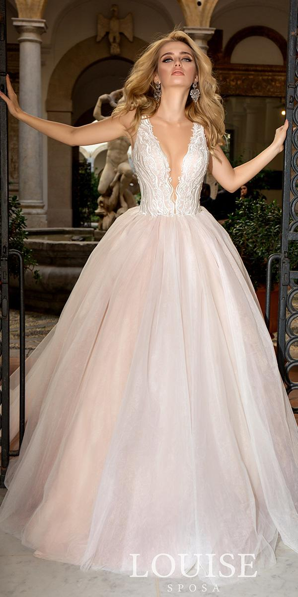 louise sposa wedding dresses ball gown deep v neckline lace top tulle skirt 2018