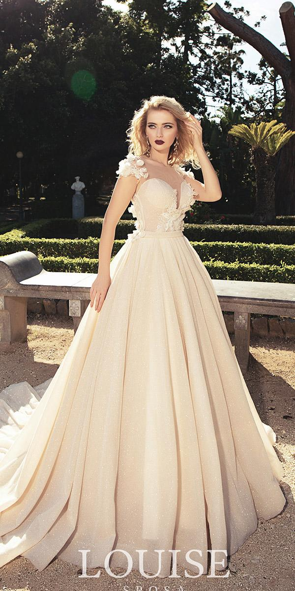 louise sposa wedding dresses ball gown illusion neckline floral ivory color