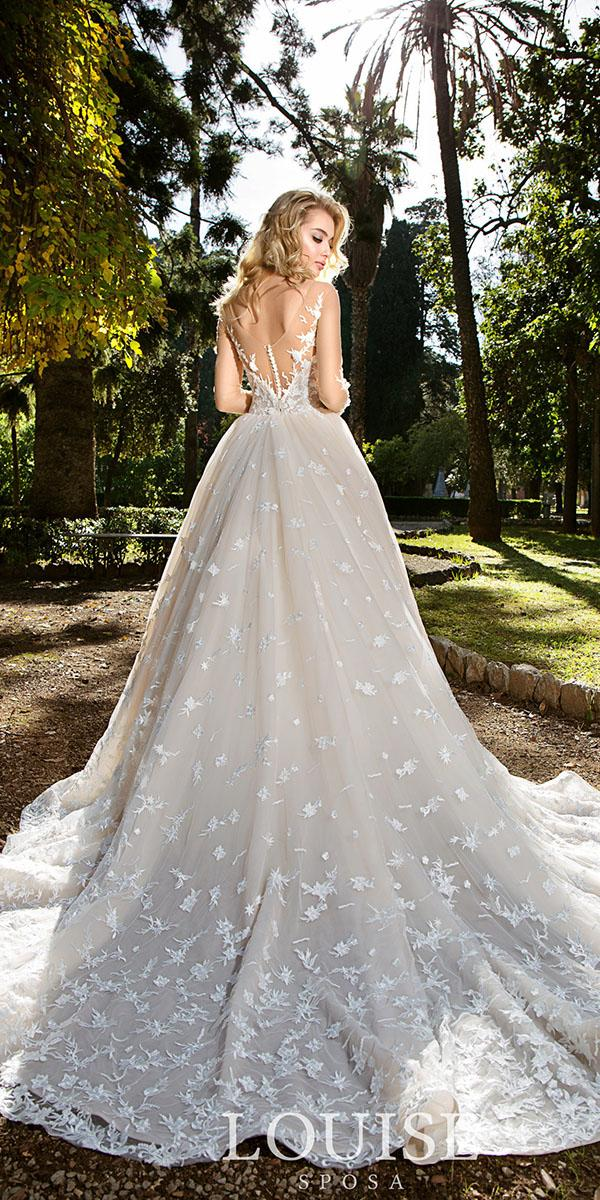 louise sposa wedding dresses ball gown low back floral appliques 2018