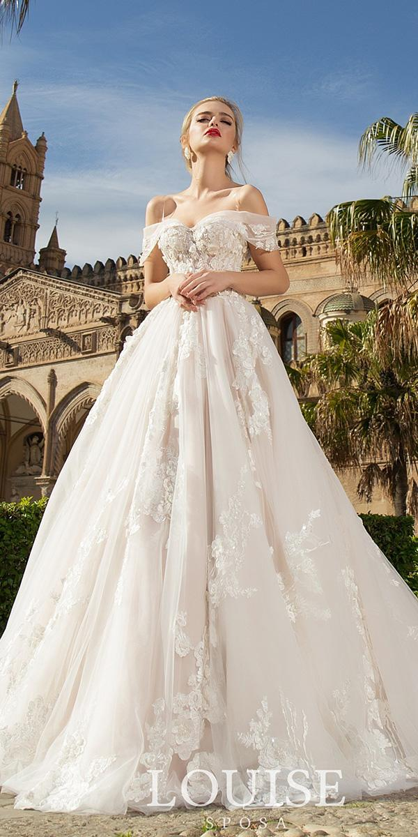 louise sposa wedding dresses ball gown off the shoulder with floral appliques 2018