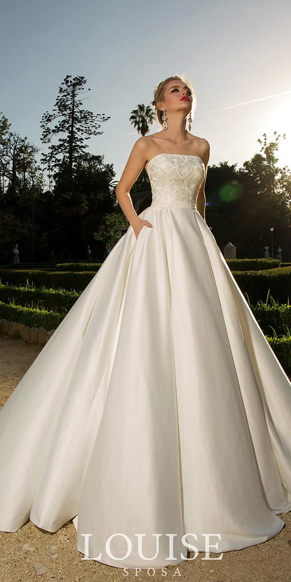 louise sposa wedding dresses ball gown straight accross lace top modest 2018