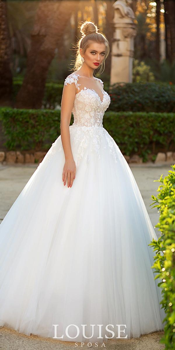 louise-sposa wedding dresses ball gown with cap sleeves floral top 2018