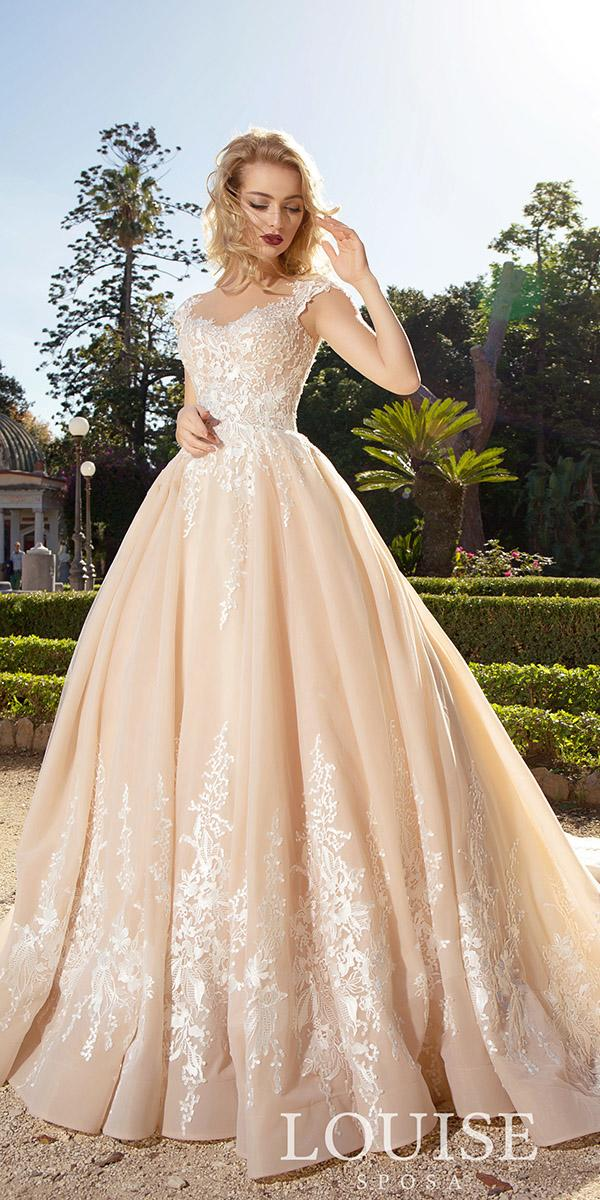 louise sposa wedding dresses ball gown with cap sleeves lace blush color