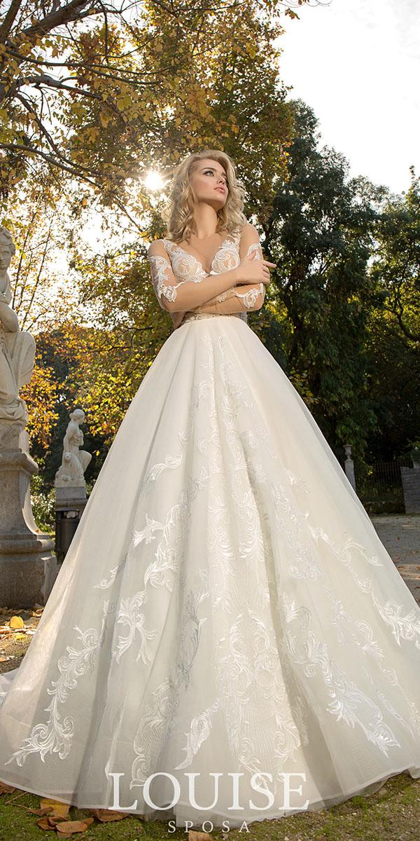 louise sposa wedding dresses ball gown with illusion long sleeves lace 2018