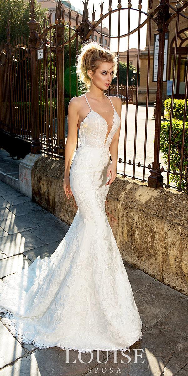 louise sposa wedding dresses deep v neckline with straps beach sexy 2018