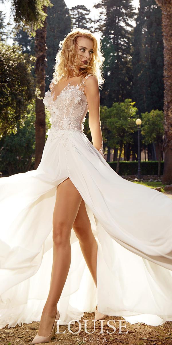 louise sposa wedding dresses illusion neckline floral appliques with slit beach 2018