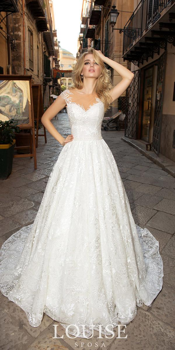 louise sposa wedding dresses illusion neckline sweetheart with cap sleevs full lace 2018