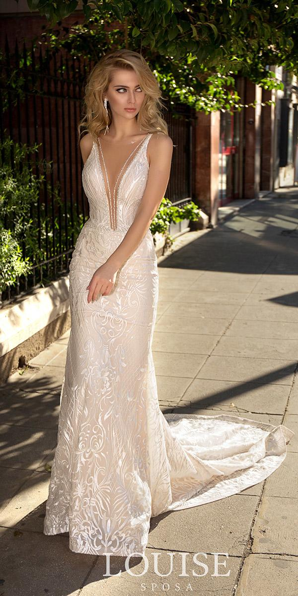 louise sposa wedding dresses sheath deep v neckline lace with train sexy