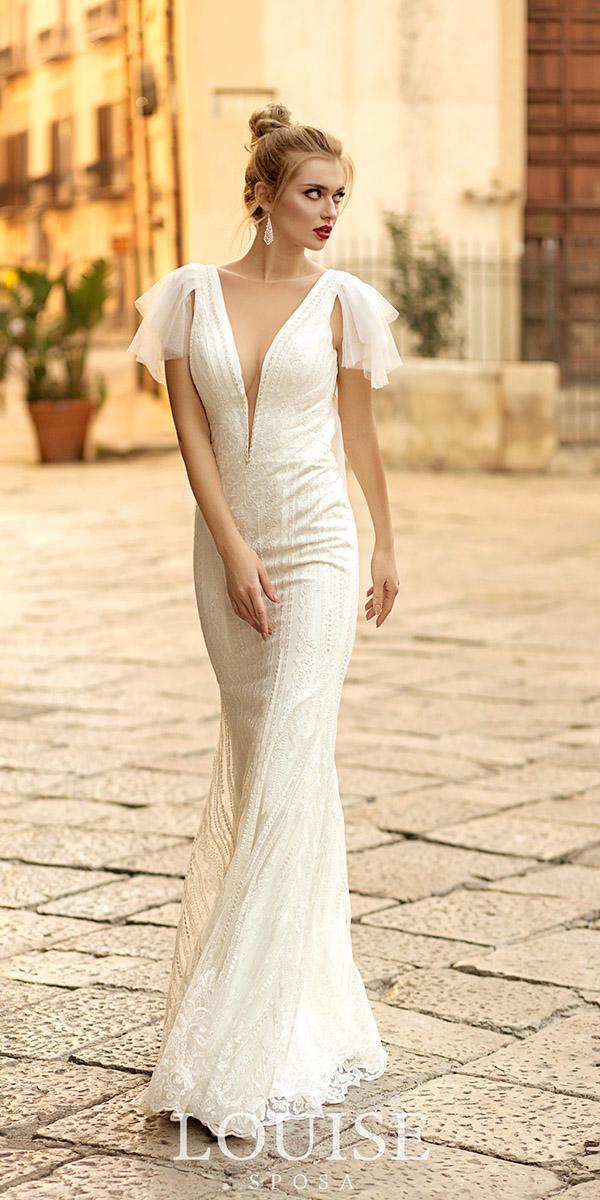 louise sposa wedding dresses sheath deep v neckline modest 2018
