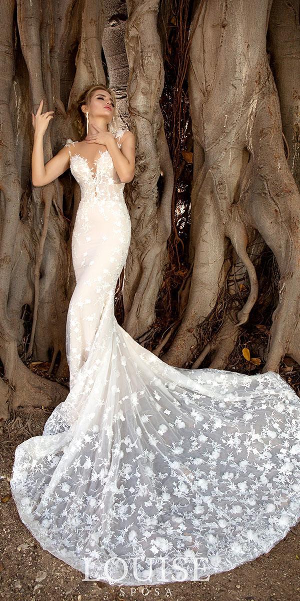 louise sposa wedding dresses sheath illusion neckline sweetheart floral sexy