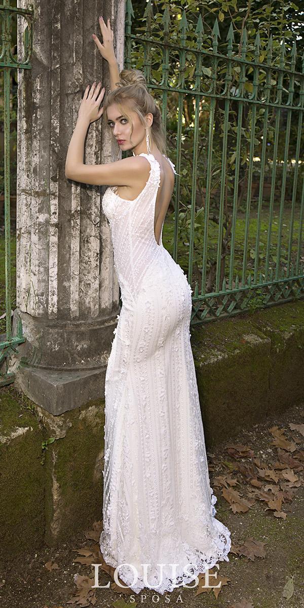 louise sposa wedding dresses sheath low back lace sexy 2018