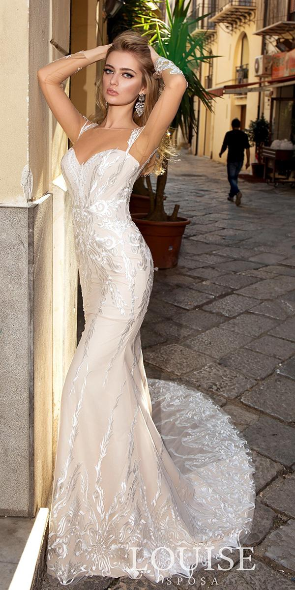 louise sposa wedding dresses sheath with long illusion sleeves lace beach