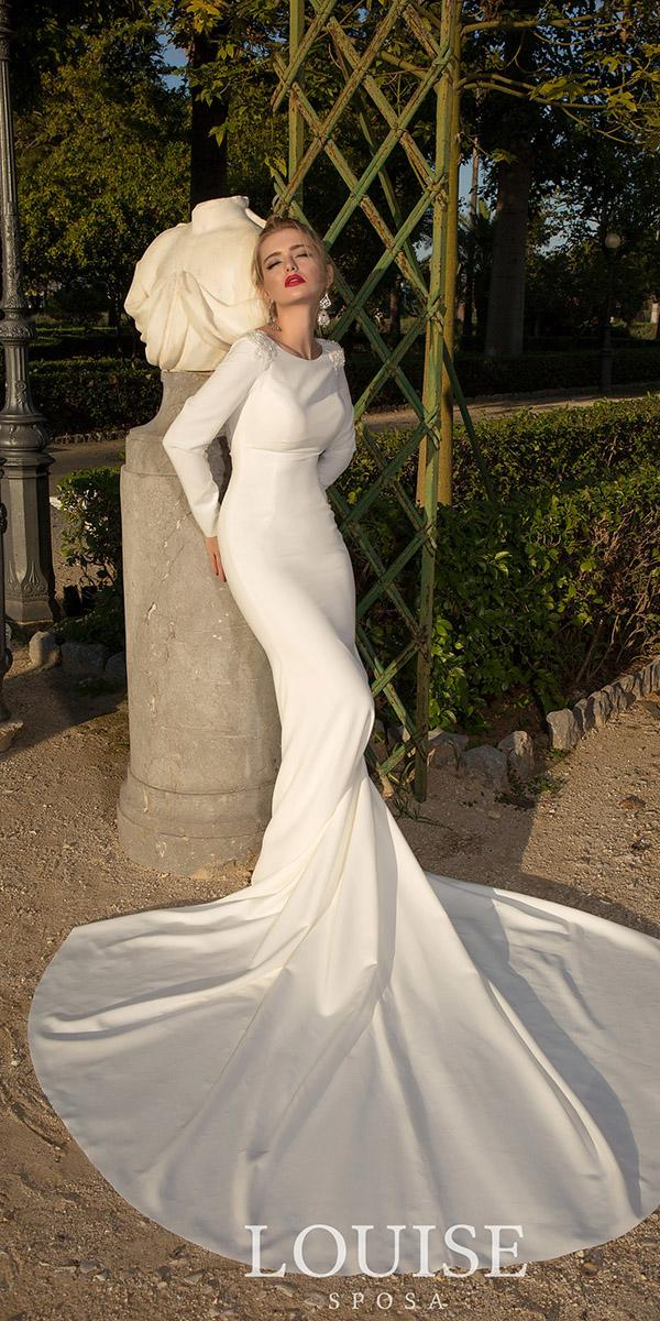 louise sposa wedding dresses sheath with long sleeves simple 2018